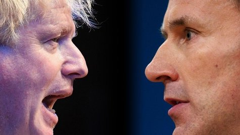 FILE PHOTO (EDITORS NOTE: COMPOSITE OF IMAGES - Image numbers 1044488356,612439836- GRADIENT ADDED) In this composite image a comparison has been made between Tory Leadership nominees Boris Johnson (L)and Jeremy Hunt. The Conservative party will vote on who will be their next leader with the result announced late July.  ***LEFT IMAGE*** BIRMINGHAM, ENGLAND - OCTOBER 02: Boris Johnson speaks at a Conservative home fringe meeting on day three of the Conservative Party Conference on October 2, 2018 in Birmingham, England. The former Foreign Secretary makes his Brexit speech to the Conservative Home fringe meeting audience today. This is seen as a direct challenge to the Prime Minister's much maligned Chequers Deal. (Photo by Jeff J Mitchell/Getty Images) ***RIGHT IMAGE*** BIRMINGHAM, ENGLAND - OCTOBER 04: Secretary of State for Health, Jeremy Hunt delivers a speech on the third day of the Conservative Party Conference 2016 at the ICC Birmingham on October 4, 2016 in Birmingham, England at the ICC Birmingham on October 4, 2016 in Birmingham, England. Ministers and senior Party members will address delegates throughout the day with a number of speeches discussing 'a society that works for everyone'. (Photo by Matt Cardy/Getty Images)