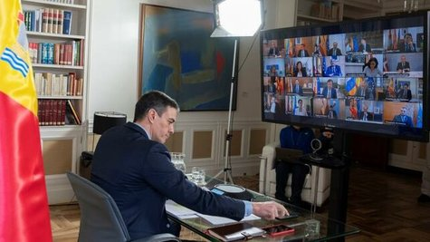 Video conferencia de Pedro Sánchez / La Moncloa