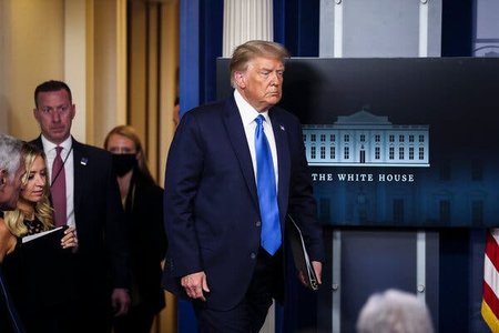 El presidente saliente de Estados Unidos, Donald Trump, en la sala de prensa de la Casa Blanca (Washington DC) / The New York Times.