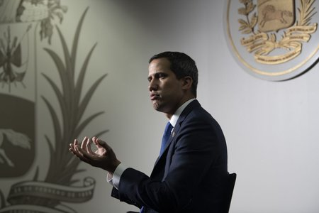 Juan Guaido, president of the National Assembly who swore himself in as the leader of Venezuela, speaks during an interview at his office in Caracas, Venezuela, on Thursday, Sept. 19, 2019. The U.S. last week said it was joining Guaido and ten other countries in invoking the Inter-American Treaty of Reciprocal Assistance, known as the Rio Treaty, which is a regional mutual defense agreement that could establish a legal path for military intervention. Photographer: Carlos Becerra/Bloomberg