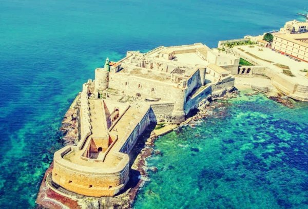 Aerial view of Maniace fortress in Syracuse Sicily