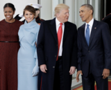 El matrimonio Obama recibiendo al matrimonio Trump. / TV TN.