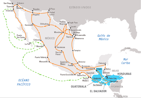 Rutas migratorias de América Central a los Estados Unidos en 2016. / OIM