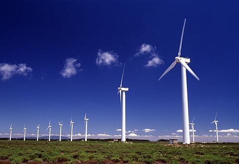 Producción de energía eólica.