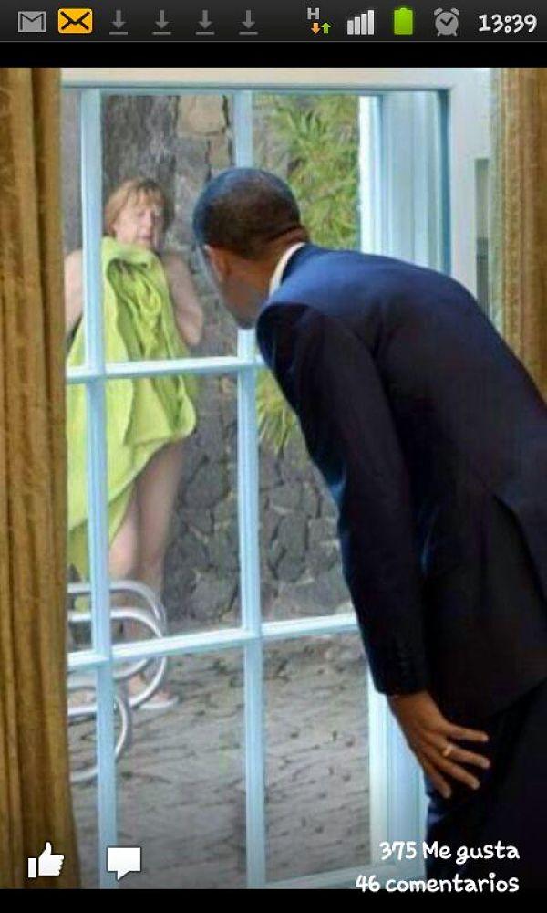 Fotomontaje aparecido en las redes sociales con Obama espiando a Merkel.