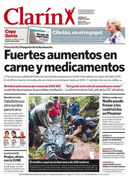 Primera página del diario Clarín.