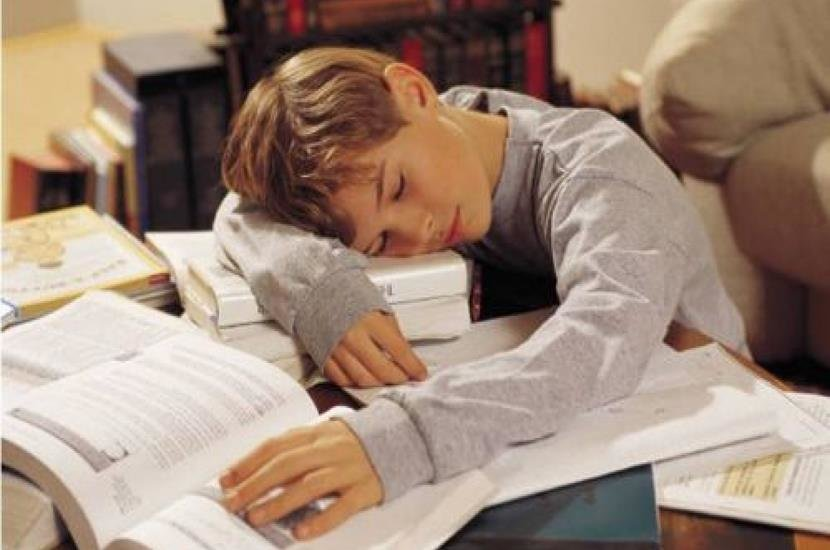 Niño durmiendo sobre libros/ madreshoy.com