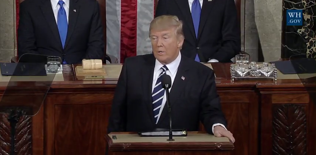Donald Trump en el Congreso. / Youtube The White House