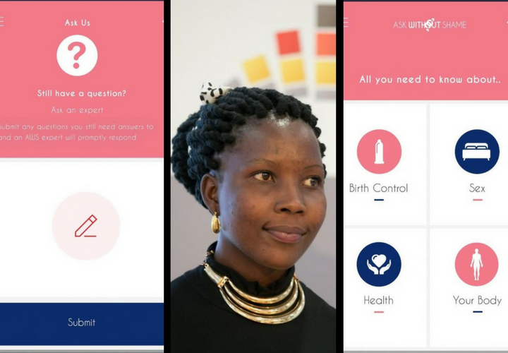 Ask Without Shame y Ruth Nabembezi, creadora de la app. / Google Play y Broadly.