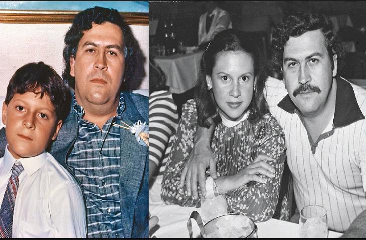 Pablo Escobar, a la izquierda con su hijo, y a la derecha con quien fue su esposa. / TKM.