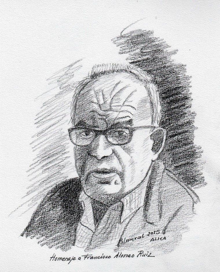 Retrato a lápiz de Francisco Alonso. / R. Palmeral