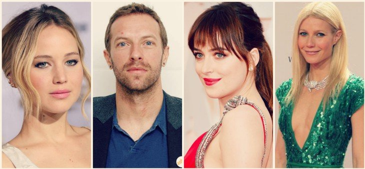 Jennifer Lawrence, actriz; Chris Martin, cantante; Dakota Johnson, actriz; Gwyneth Paltrow, actriz. / RR SS
