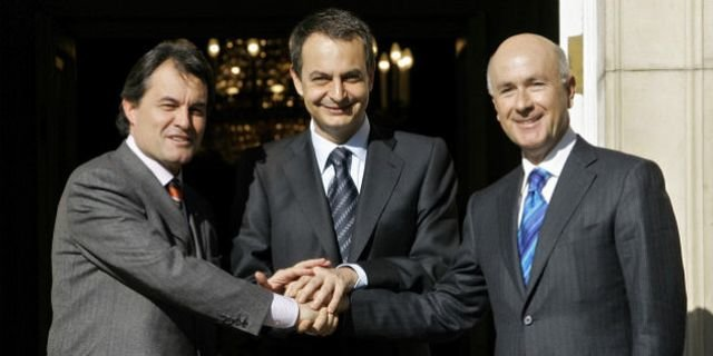 Spanish Prime Minister Jose Luis Rodriguez Zapatero, center, shakes hands with Catalan politicians Artur Mas, left and Josep Antoni Duran Lleida, of the Convergence and Union party at Moncloa Palace in Madrid, Spain, Monday, Jan. 23, 2006 to discuss the Catalonian Statute, a reform proposal seeking greater autonomy for Catalonia. On Sunday the government announced that it had reached
