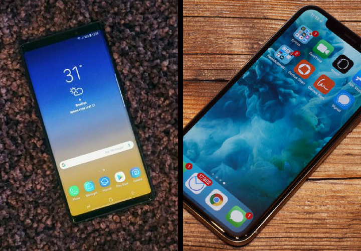 Samsung Galaxy Note 9 y iPhone X. / Samsung y Apple.