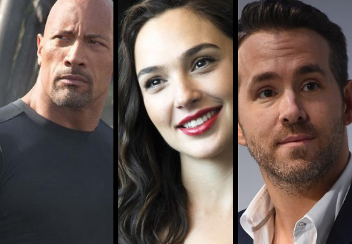 Dwayne Johnson, actor; Gal Gadot, actriz; y Ryan Reynolds, actor. / RR SS.