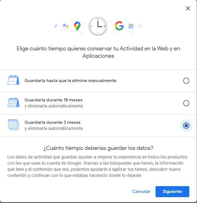 Controles de la actividad de tu cuenta Google. / Propia